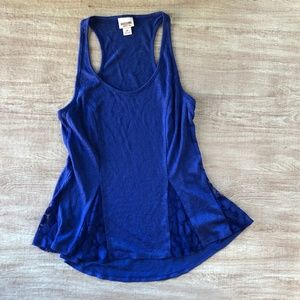 Mossimo Floral Lace Tank Top Sexy Flowy Royal NEW